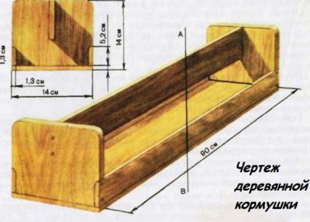 Чертеж деревянной кормушки для уток