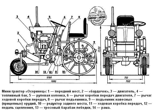 схема минитрактора