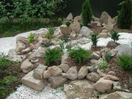 Ландшафтные композиции в саду из камней