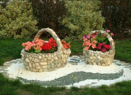 клумбы для цветов из камня
