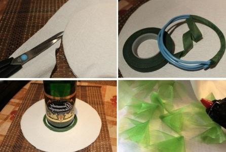 Оставшуюся часть бумаги гофре наклеиваем на вторую сторону круга, а излишки обрезаем