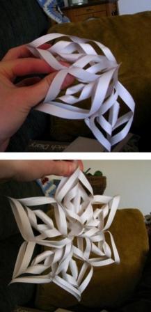 Объемная снежинка с использованием нескольких листов_4