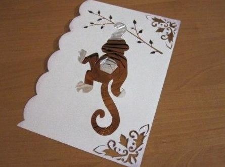 открытка обезьянка на 2016