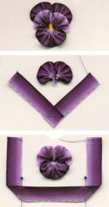 цветок анютины глазки из лент фото