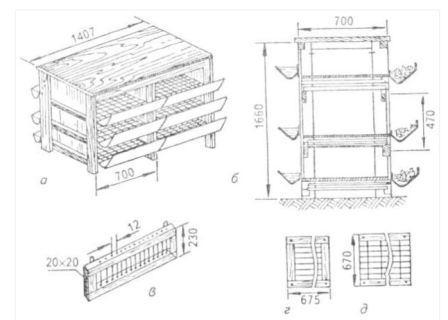 Чертеж и размеры клетки для содержания бройлеров