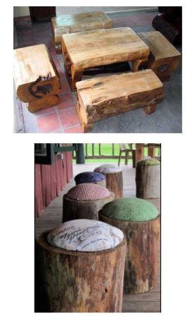Садовая мебель из пней и коряг